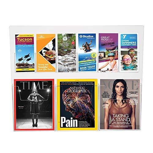 Source One Premium Combo Wall Mount Magazine Rack, Brochure Holder Organizer (S1-Matt-Wall)