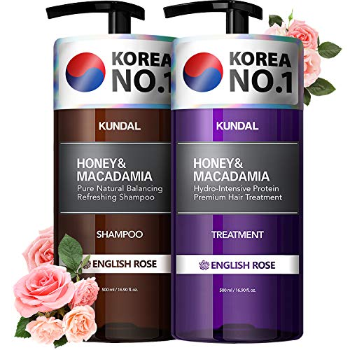 KUNDAL Shampoo and Conditioner Set for Damaged, Color-treated hair, English Rose, Sulfate Free &...
