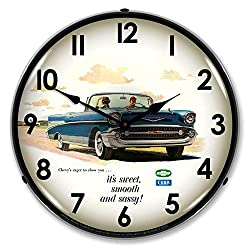 1957 Bel Air Convertible It's Sweet, Smooth & Sassy LED Wall Clock, Retro/Vintage, Lighted, 14 inch
