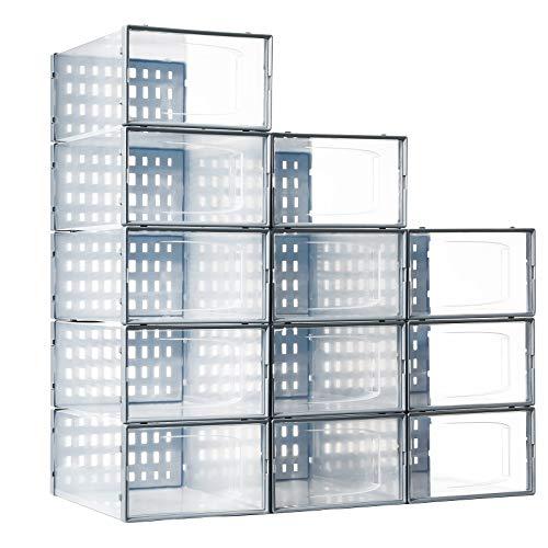 Shoe Storage Boxes Clear Stackable, Secret Space 12 Pack Plastic Shoe Organizer for Closet, Drop Front Shoe Container Bin for Sneaker Storage, Medium, Gray