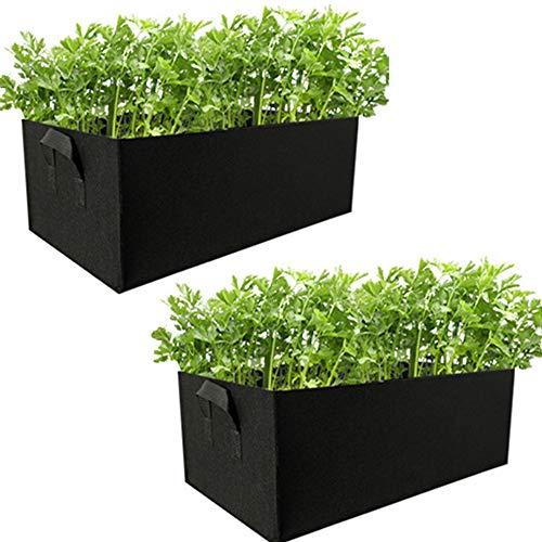 Alapaste 2pack Fabric Raised Garden Bed Felt Growing Bag Planter Pot Rectangle Planting Container for Flowers,Vegetables,Plants