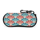 Blue Red Peacock Tail Sonnenbrille mit Lock Buckle Soft Bag Brillenetui