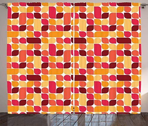 ABAKUHAUS Jahrgang Rustikaler Gardine, Bauhaus Geometrisches Retro, Schlafzimmer Kräuselband Vorhang mit Schlaufen und Haken, 280 x 225 cm, Mehrfarbig