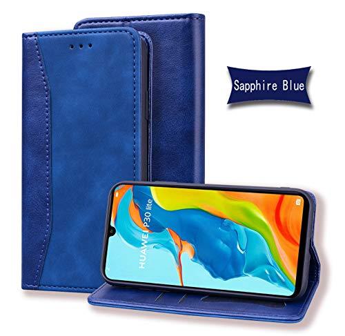 Jajacase Custodia per Huawei P30 Lite (6.2 ) - Portafoglio Libro Cover Flip Caso Shell Protettiva Accessori in Pelle PU con Supporto, Tasca per Schede e Chiusura Magnetica - Zaffiro