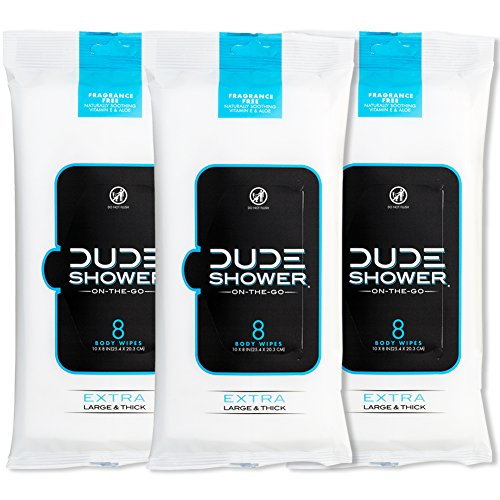 DUDE Shower Body Wipes Unscented Naturally Soothing Aloe and Hypoallergenic, Portable Travel-Sized Individual Cleansing Cloths for Men, 8 Count (Pack of 3)