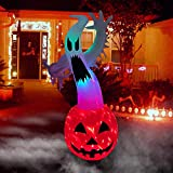 BLOWOUT FUN 6ft Inflatable Halloween Scary Pumpkin Ghost with Fire Light LED Blow Up Lighted Decor Indoor Outdoor Holiday Art Decor Decorations