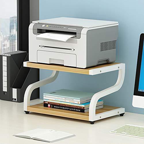 PUNCIA 2-Tier Office Thicken Desktop Multifunction Printer Stand Shelf Stand Rack with Anti - Skid Feet Organizer Storage for Fax Machine File Copier Scanner Microwave Oven(Brown)