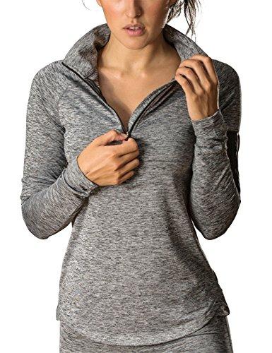 icyzone Women's Workout Yoga Track Jacket 1/2 Zip Long Sleeve Running Shirt (S, Athletic Grey)
