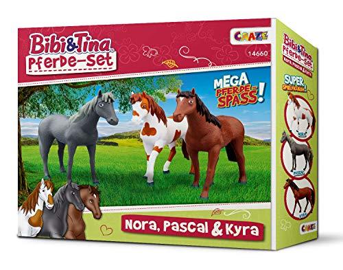CRAZE BIBI & TINA Spielfiguren Pferdeset 3er Set Pferde zum Sammeln und Spielen Nora Pascal Kyra 14660