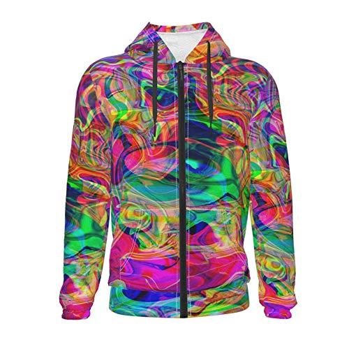 Inaayayi Psichedelico Colorato Colori Vividi Unisex Maglione Teen 3D Casual Pullover Felpa Con Cappuccio Felpe Ragazzi Ragazze con Tasca Nero S