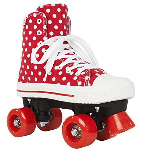 Rookie Canvas High Polka Dots, 4 Rollen, Unisex, Kinder, Rot/Weiß, 34