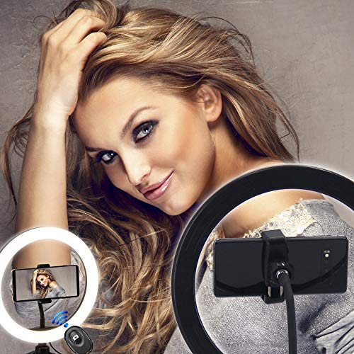 """SAFETY+BEAUTY 10"""" Selfie Ring Light with Tripod Stand & Cell Phone Holder, for Photography and Live Stream, Online Meeting, Work at Home Zoom Call, Easy Pairing Bluetooth Remote Shutter Included"""