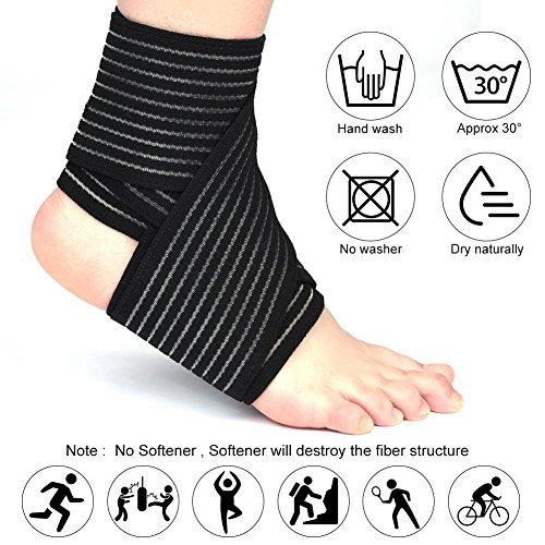 Sportbandage, für Knie, Oberschenkel oder Wade, zur Kompression bei Verletzungen und Schmerzen, schwarz, hohe Elastizität, 1 Stück - 4