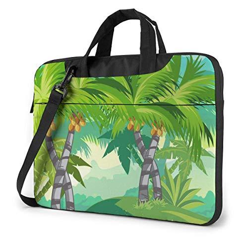 Laptop Bag Satchel Tablet,Jungle with Coconut Trees Carrying Handbag Laptop Sleeve,Laptop Shoulder Messenger Bag Case Sleeve For Women & Men With Shoulder Straps & Handle