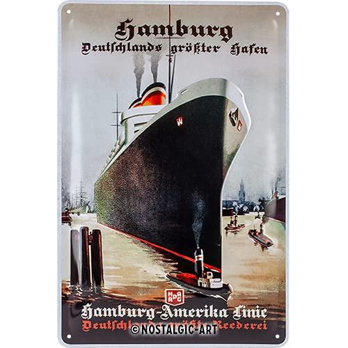 Nostalgic-Art 22301 Retro Blechschild Hamburg – Deutschlands größterHafen–SouvenirundGeschenk-Idee,ausMetall,Vintage-Dekoration,20x30cm
