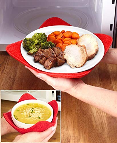 4TB Microwave Plate Huggers - Polyester - Handle Hot Plates Without Burning Your Hands - Set of 2...