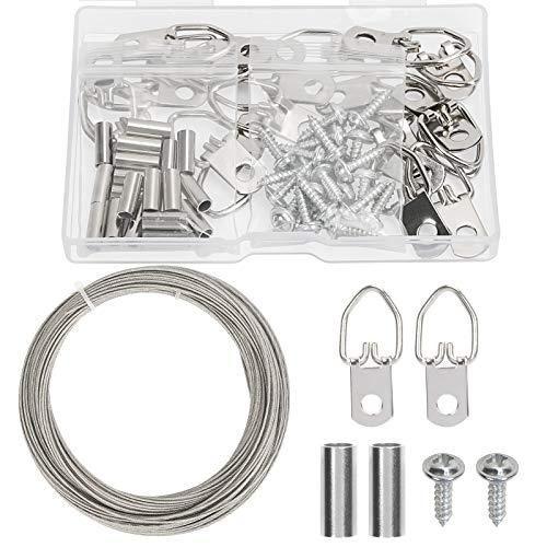 kit para Colgar Cuadros con Anilla CHALA 61PCS Alambre de Colgar Cuadro con 20pcs (Juegos de Anillas en D,Tornillos,Manguito de Anillo de Prensado de Aluminio) y 1pcs 100 Pulgada de Cable Acero