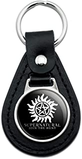 Supernatural Anti Possession Symbol Black Leather Keychain