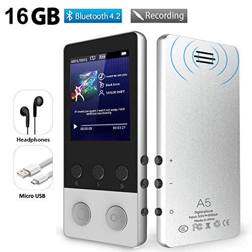 MP3 Player, 16GB Bluetooth 4.2 MP3 Player Kinder mit Lautsprecher, Sport Musik Player mit FM Radio Schrittzähler Voice Recorder Schlaftimer Wecker, Unterstützt bis 128 GB SD Karte (Silber)