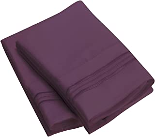 Mellanni Luxury Pillowcase Set - Brushed Microfiber 1800 Bedding - Wrinkle, Fade, Stain Resistant - Hypoallergenic (Set of 2 King Size, Purple)