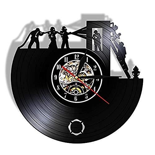 WJUNM Firewall Art Clock Feuerwehrmann Retro Vinyl Rekord Wanduhr Feuerwehrauto Zeituhr Feuerwehr Wanddekoration Feuerwehrmann Geschenk