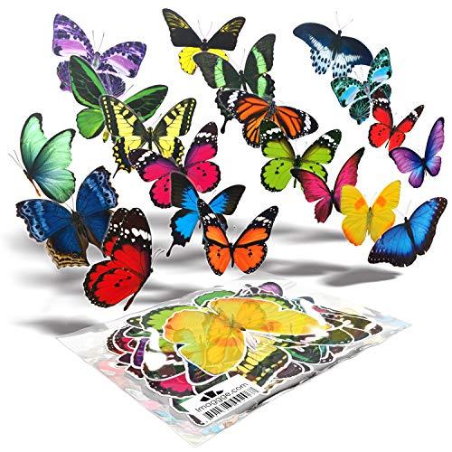 Imaggge.com - 20x - Papillons - Autocollants électrostatiques repositionnables - Contre impacts et collisions d'oiseaux aux vitres des fenêtres - Impression haute résolution - Waterproof