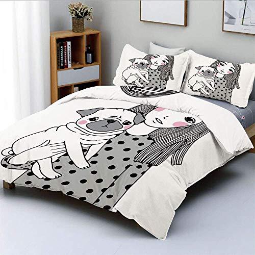 Juego de funda nórdica, niña sosteniendo su pug, aspecto triste, afecto animal entre una mascota y el dueño Imagen decorativa Juego de cama decorativo de 3 piezas con 2 fundas de almohada, neg