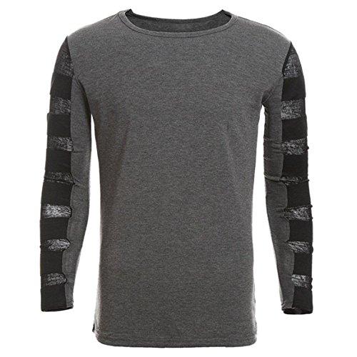 Moonuy Männer Langarm-Pullover Mann dünnes Hemd 2018 Herbst reine Farbe schwarz Weathshirts Baumwolle Top Bluse täglich tragen (EU 36 / Asien M, Dunkelgrau)