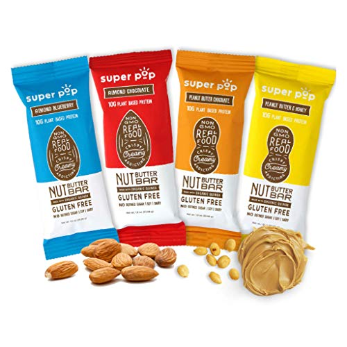 Super Pop Snacks, Plant Based Protein Bars, All-Natural Nut Butter Bars With...