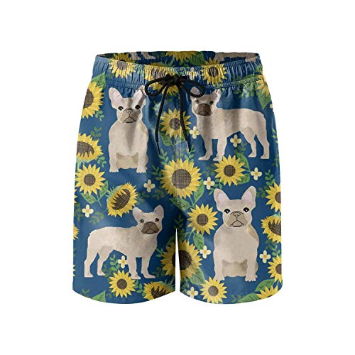 Men's Board Shorts French Bulldog Sunflowers Floral Quick Dry Bathing Suits Mesh Lining Beach Board Shorts