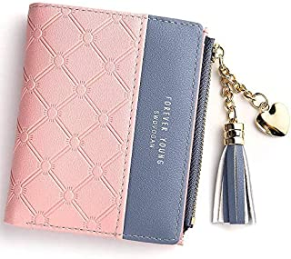 Wallet for Women Leather Short Wallet Bifold, RFID Blocking Wallet Credit Card Holder Organizer with Zipper Pocket Mini Lady Purse (Pink)