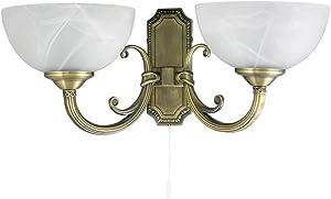 Applique Lampe Luminaire Murale Intérieur Style Art Nouveau 2 Lumières Bronze/Verre Albâtre 1/1/793