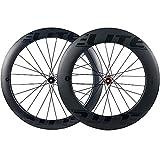 ELITEWHEELS Carbon Wheels Disc Brake 700c Front 60mm Rear 88mm Wheelset Center Lock Or 6-blot Bock Road Cycling Tubeless Compatible Clincher