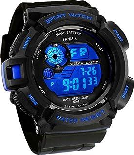 Fanmis reloj electrónico a prueba de agua, militar, multifunción, LED, con alarma, deportivo, azul, de cuarzo
