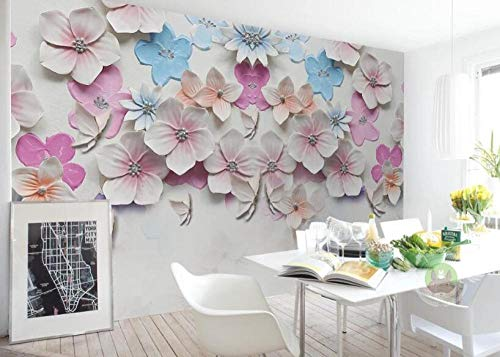 Fotobehang Woonkamer Slaapkamer Mural Nieuwe Chinese Stijl Perzik Bloesem Stereo Relief Televisie Achtergrond Muur schilderen-3D Mural_300*210cm