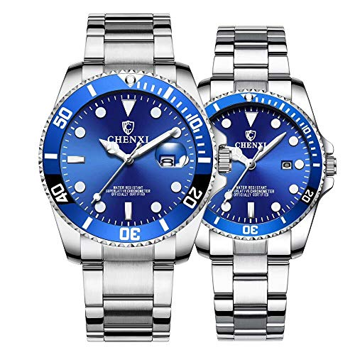 Couple Watches Classic Silver Stainless Steel Watch His and Hers Waterproof Quartz Watch(Silver Blue)