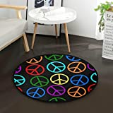 ALAZA Rainbow Peace Sign on Black Round Area Rug for Living Room Bedroom 3' Diameter(92 cm)
