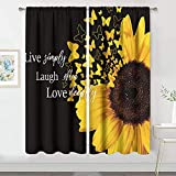 MESHELLY Black Yellow Sunflower Curtains 42(W) x 63(H) Inch Rod Pocket Farmhouse Floral Bedroom Decor Rustic Country Quote Yellow Flower Butterfly Window Drapes Love Dining Living Room Fabric 2 Panels