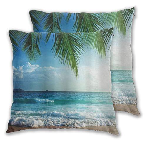 KASABULL 2 Pack Kissenbezüge Ocean Palms Tropical Island Beach Küstenwasserwellen Hawaiian Nautical Marine Quadratische Kissenhüllen für das Wohnzimmer-Sofa, Schlafzimmer 30cm x 30cm