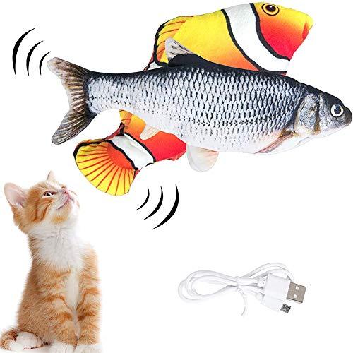 2Stück Katzenspielzeug Elektrische Fische Katzenspielzeug, Simulation Elektrisch Spielzeug Fisch mit USB Charge, Kauen Spielzeug für Katze zu Spielen, Beißen, Kauen