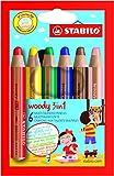 Producto nuevo. Stabilo Woody 3-in-1 lápices de colores ceras de acuarelas de manga corta para hombre 10 mm varios colores 8806 [Pack 6]