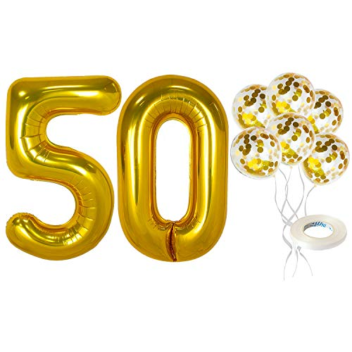 Gold Number 50th Birthday Balloons Set - 40 Inch | Gold Number 50 with Gold Confetti Balloons for 50 Anniversary Decorations | 50th Birthday Party Decorations | 50 Wedding Anniversary Decorations