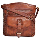 Genuine Leather Crossbody Sling bag for Women Fancy & Stylish Bags for Girls (Tan Wash)
