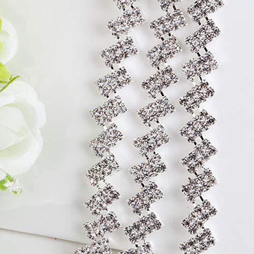 AUBERSIT 1 Yarda de Cadena de Diamantes de imitación de Cristal Transparente, decoración de Vestido de Novia con Base Plateada, Accesorios para Coser, Plata