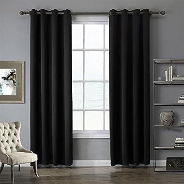 LOHASCASA Light Blocking Blackout Curtains Master Bedroom - Long 52 x 84 Inch Black 1 Panel