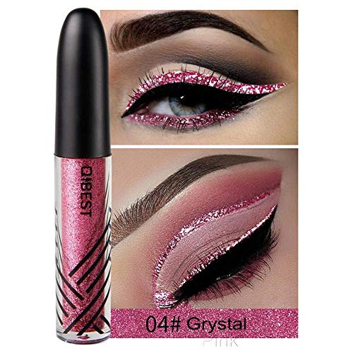 ASKSA Eyeliner Stift Glitzer Glänzende bunte Eyeliner Pailletten Flashings Wasserdichte Silber Gold Metallic Liquid Glitter Eyeliner für Party, Cosplay, Maskerade 13 Farben optional (04#Kristall-Pink)