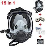 Muhubaih 15in1 Full Face Large Size Respirator,Full Face Wide Field of View,Widely Used in Organic Gas,Paint spary, Chemical,Woodworking (black 15in1)