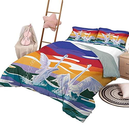 3-teilige Bettwäsche-Sets Schwan Tagesdecke Bettdecke für alle Jahreszeiten Blühende Seerosen mit grünen Blättern Algen & Herzen Liebe zur sanften Natur Thema voller Größe Multicolor