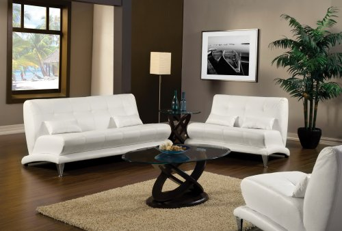 Hokku Designs Sewell Living Room Collection Sofa and Loveseat White