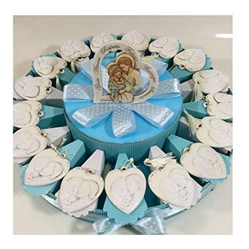 Sindy Bomboniere 8054382130 Bomboniere Battesimo Bimbo Sacra Famiglia Pendente + Centrale + Confetti, Resina, Azzurro, 6 cm